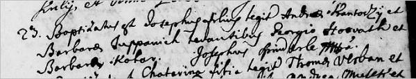 Foto:  23. studenog ( 1763.) kršten je Josip zakoniti sin Andrije Kantocija i Barbare Županić, krsni kumovi Juraj Horvat i Barbara Kolar, krstitelj Josip Špinderle.