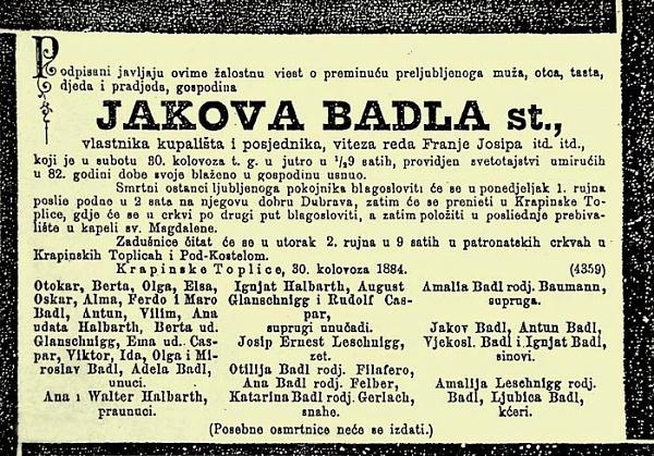Osmrtnica Jakoba Badla